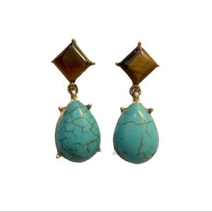 Francesca's Turquoise & Quartz Teardrop Earrings